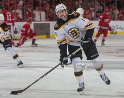 DETROIT, MI - NOVEMBER 25: Brett Connolly #14 of the Boston Bruins skates in warm-ups prior to the NHL game against the Detroit Red Wings at Joe Louis Arena on November 25, 2015 in Detroit, Michigan. The Bruins defeated the Wings 3-2 in overtime. (Photo by Dave Reginek/NHLI via Getty Images)