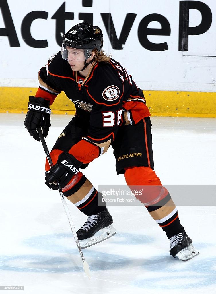 ANAHEIM, CA - FEBRUARY 25: William Karlsson #38 of the Anaheim Ducks skates against the Ottawa Senators on February 25, 2015 at Honda Center in Anaheim, California. (Photo by Debora Robinson/NHLI via Getty Images)