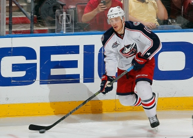 SUNRISE, FL - DECEMBER 4: Jack Skille #10 of the Columbus Blue Jackets skates with the puck against the Florida Panthers at the BB&T Center on December 4, 2014 in Sunrise, Florida. (Photo by Eliot J. Schechter/NHLI via Getty Images)