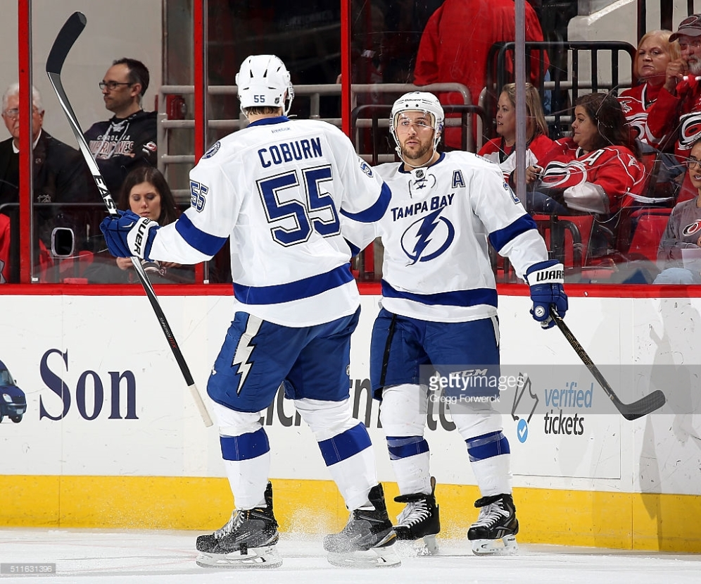 of the Carolina Hurricanes of the Tampa Bay Lightning during an NHL game at PNC Arena on February 21, 2016 in Raleigh, North Carolina.