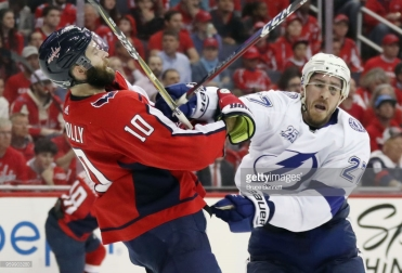 skates against the Washington Capitals in Game Four of the Eastern Conference Finals during the 2018 NHL Stanley Cup Playoffs at the Capital One Arena on May 17, 2018 in Washington, DC. The Lightning defeated the Capitals 4-2.