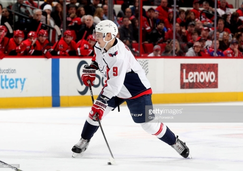 RALEIGH, NC - JANUARY 2: of the Carolina Hurricanes of the Washington Capitals during an NHL game on January 2, 2018 at PNC Arena in Raleigh, North Carolina. (Photo by Gregg Forwerck/NHLI via Getty Images)