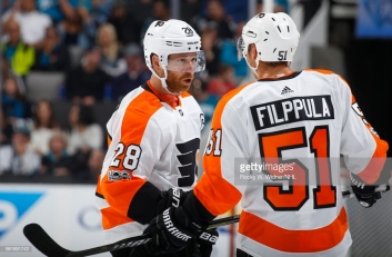 SAN JOSE, CA - OCTOBER 4: Claude Giroux #28 and Valtteri Filppula #51 of the Philadelphia Flyers have a talk during a NHL game against the San Jose Sharks at SAP Center at San Jose on October 4, 2017 in San Jose, California. (Photo by Rocky W. Widner/NHL/Getty Images)