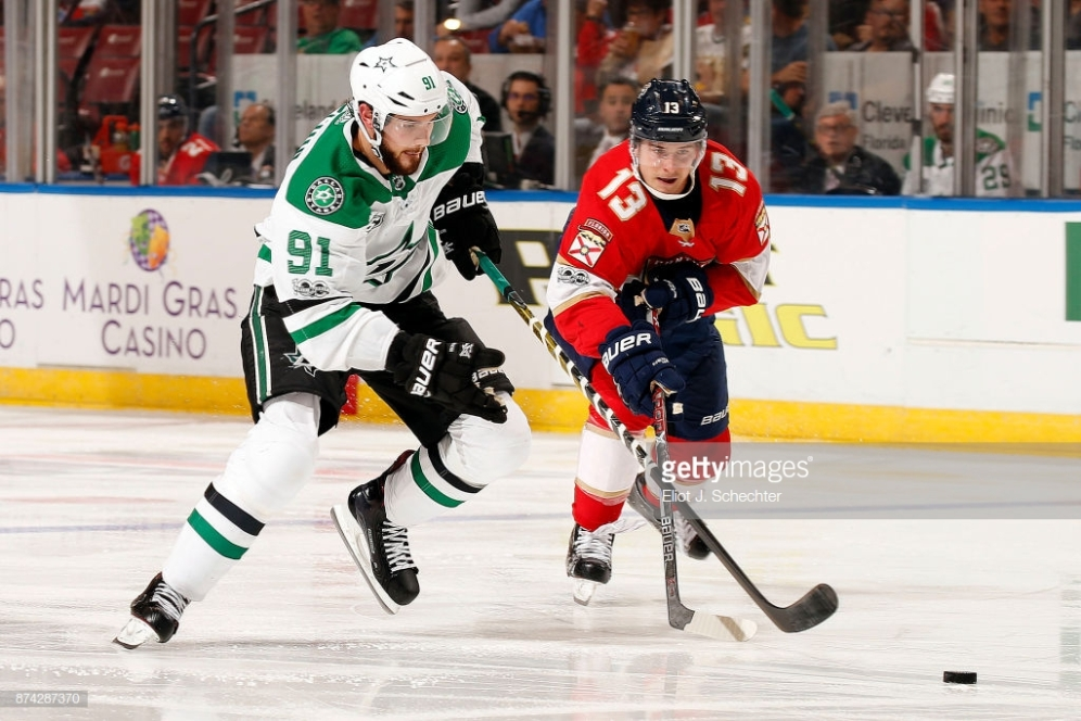 SUNRISE, FL - NOVEMBER 14: Tyler Seguin #91 of the Dallas Stars crosses sticks with Mark Pysyk #13 of the Florida Panthers at the BB&T Center on November 14, 2017 in Sunrise, Florida. (Photo by Eliot J. Schechter/NHLI via Getty Images)