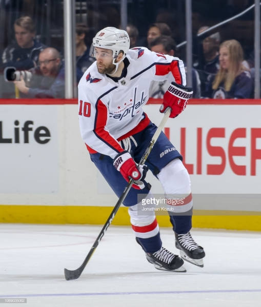 WINNIPEG, MB - NOVEMBER 14: Brett Connolly #10 of the Washington Capitals follows the play up the ice during first period action against the Winnipeg Jets at the Bell MTS Place on November 14, 2018 in Winnipeg, Manitoba, Canada. The Jets defeated the Caps 3-1. (Photo by Jonathan Kozub/NHLI via Getty Images)