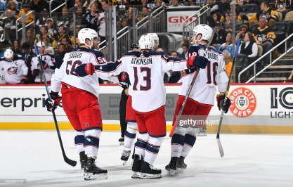 PITTSBURGH, PA - NOVEMBER 24: Cam Atkinson #13 of the Columbus Blue Jackets celebrates his second period goal against the Pittsburgh Penguins at PPG Paints Arena on November 24, 2018 in Pittsburgh, Pennsylvania. (Photo by Joe Sargent/NHLI via Getty Images)