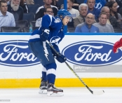 "TAMPA, FL - OCTOBER 26: Chris Kunitz #14 of the Tampa Bay Lightning skates against the Detroit Red Wings during the third period at Amalie Arena on October 26, 2017 in Tampa, Florida. (Photo by Scott Audette/NHLI via Getty Images)""n"