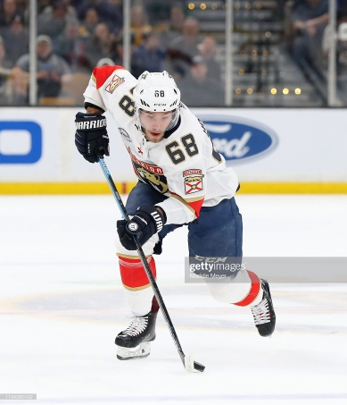 BOSTON, MASSACHUSETTS - MARCH 07: Mike Hoffman #68 of the Florida Panthers skates against the Boston Bruins during the second period at TD Garden on March 07, 2019 in Boston, Massachusetts. (Photo by Maddie Meyer/Getty Images)