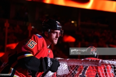 CALGARY, AB - DECEMBER 08: Calgary Flames Defenceman Noah Hanifin #55 skates before an NHL game against the Nashville Predators on December 8, 2018 at the Scotiabank Saddledome in Calgary, Alberta, Canada. (Photo by Brett Holmes/NHLI via Getty Images)