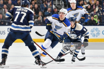 COLUMBUS, OH - FEBRUARY 2: Zach Sanford #12 of the St. Louis Blues skates against the Columbus Blue Jackets on February 2, 2019 at Nationwide Arena in Columbus, Ohio. (Photo by Jamie Sabau/NHLI via Getty Images)