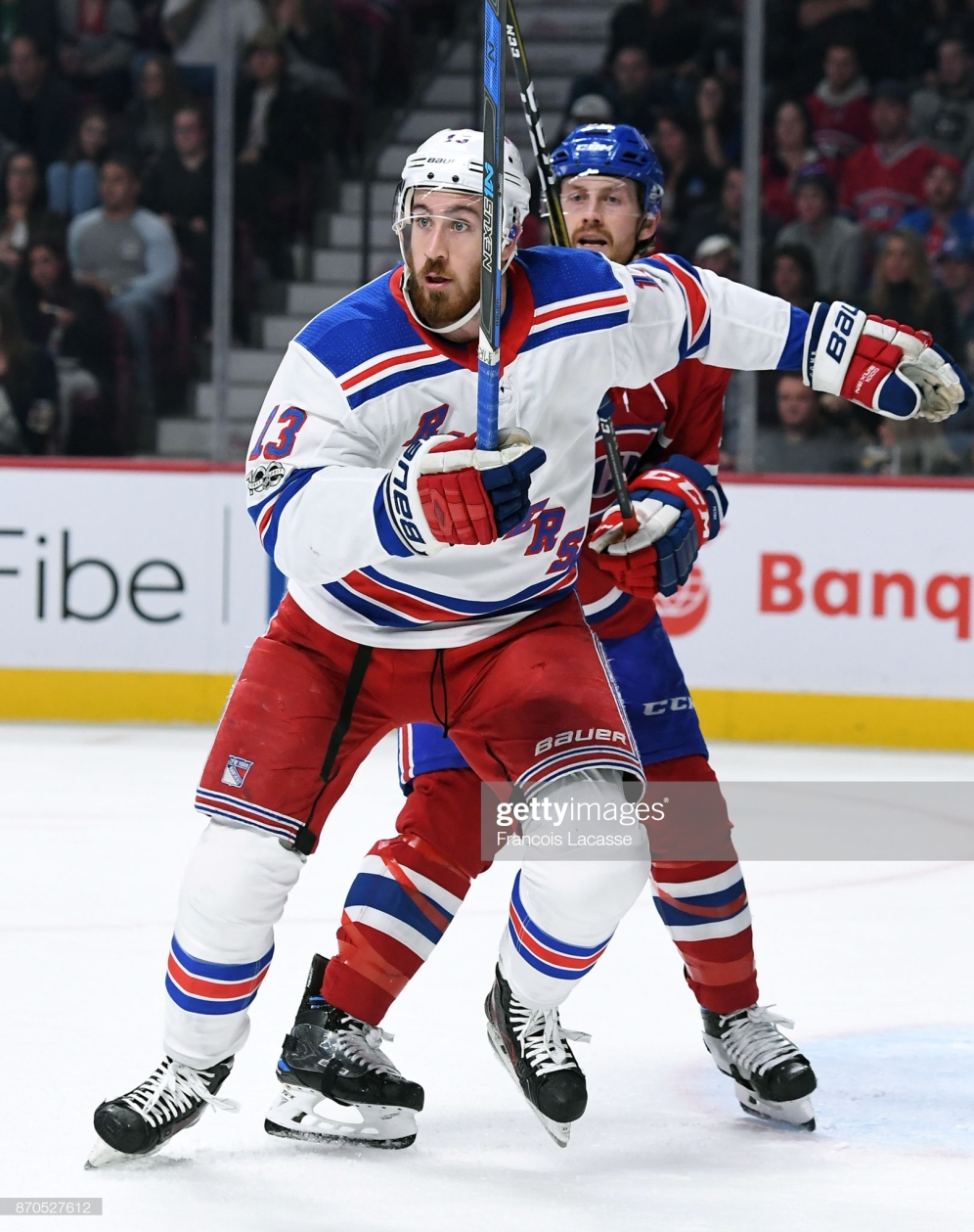 MONTREAL, QC - OCTOBER 28: Kevin Hayes #13 of the New York Rangers skates against the Montreal Canadiens in the NHL game at the Bell Centre on October 28, 2017 in Montreal, Quebec, Canada. (Photo by Francois Lacasse/NHLI via Getty Images) *** Local Caption ***