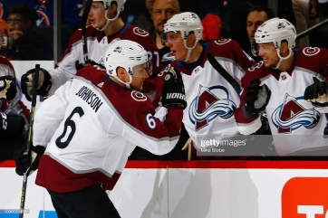 NEW YORK, NY - FEBRUARY 09: Erik Johnson #6 of the Colorado Avalanche celebrates his second period goal against the New York Islanders at Barclays Center on February 9, 2019 the Brooklyn borough of New York City. (Photo by Mike Stobe/NHLI via Getty Images)