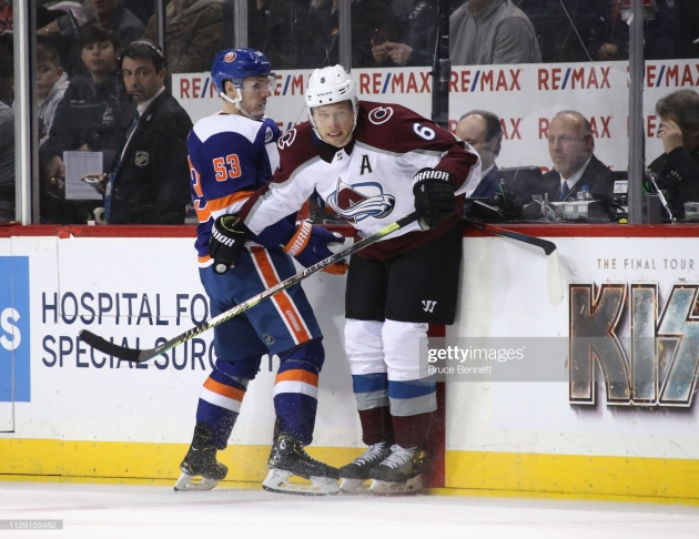 NEW YORK, NEW YORK - FEBRUARY 09: Erik Johnson #6 of the Colorado Avalanche skates against the New York Islanders at the Barclays Center on February 09, 2019 in the Brooklyn borough of New York City. The Islanders defeated the Avalanche 4-3. (Photo by Bruce Bennett/Getty Images)