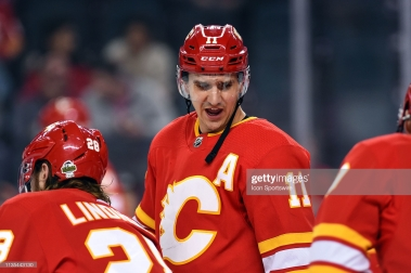 CALGARY, AB - APRIL 06: Calgary Flames Center Mikael Backlund (11) warms up before an NHL game where the Calgary Flames hosted the Edmonton Oilers on April 6, 2019, at the Scotiabank Saddledome in Calgary, AB. (Photo by Brett Holmes/Icon Sportswire via Getty Images)