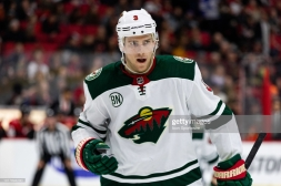 OTTAWA, ON - JANUARY 05: Minnesota Wild Center Charlie Coyle (3) waits for a face-off during third period National Hockey League action between the Minnesota Wild and Ottawa Senators on January 5, 2019, at Canadian Tire Centre in Ottawa, ON, Canada. (Photo by Richard A. Whittaker/Icon Sportswire via Getty Images)