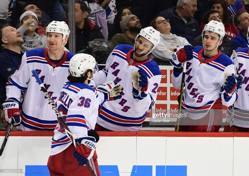 NEW YORK, NEW YORK - JANUARY 12: Mats Zuccarello #36 of the New York Rangers high-fives the bench after scoring the game-winning goal during the third period of the game against the New York Islanders at Barclays Center on January 12, 2019 in the Brooklyn borough of New York City. The New York Rangers won 2-1. (Photo by Sarah Stier/Getty Images)