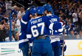 TAMPA, FL - APRIL 27: The Tampa Bay Lightning celebrate after Ryan Malone #12 of the Tampa Bay Lightning scores during the first period of the game at the Tampa Bay Times Forum on April 27, 2013 in Tampa, Florida. (Photo by Scott Audette/NHLI via Getty Images)