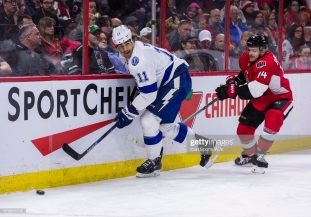 February 8, 2016: Tampa Bay Lightning Center Brian Boyle (11) [3487] plays the puck with Ottawa Senators Defenceman Mark Borowiecki (74) [7097] giving chase during third period National Hockey League action between the Tampa Bay Lightning and Ottawa Senators at Canadian Tire Centre in Ottawa, ON, Canada. (Photograph by Richard A. Whittaker/Icon Sportswire) (Photo by Richard A. Whittaker/Icon Sportswire/Corbis/Icon Sportswire via Getty Images)