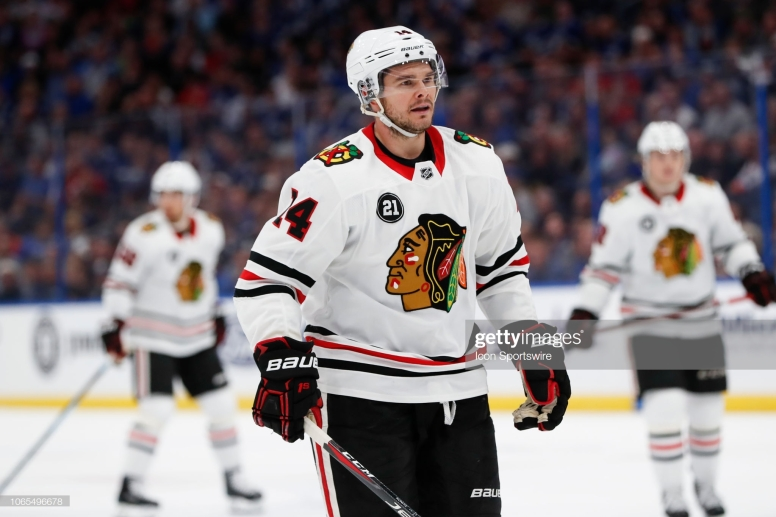 TAMPA, FL - NOVEMBER 23: Chicago Blackhawks left wing Chris Kunitz (14) skates in the first period of the regular season NHL game between the Chicago Blackhawks and Tampa Bay Lightning on November 23, 2018 at Amalie Arena in Tampa, FL. (Photo by Mark LoMoglio/Icon Sportswire via Getty Images)