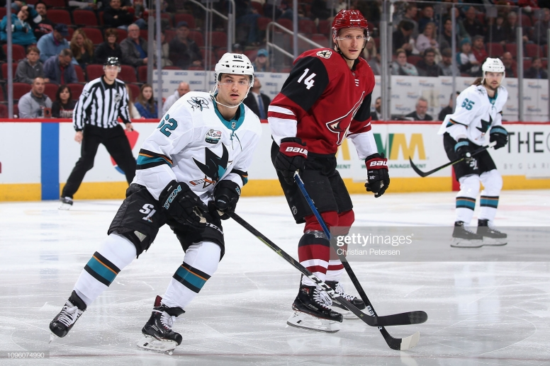 GLENDALE, ARIZONA - JANUARY 16: Lukas Radil #52 of the San Jose Sharks and Richard Panik #14 of the Arizona Coyotes in action during the second period of the NHL game at Gila River Arena on January 16, 2019 in Glendale, Arizona. (Photo by Christian Petersen/Getty Images)