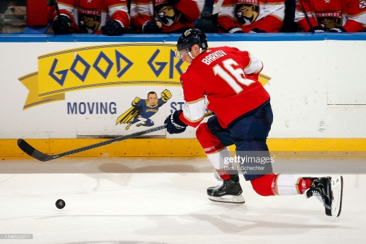 SUNRISE, FL - DECEMBER 28: Aleksander Barkov #16 of the Florida Panthers skates with the puck against the Detroit Red Wings at the BB&T Center on December 28, 2019 in Sunrise, Florida. (Photo by Eliot J. Schechter/NHLI via Getty Images)