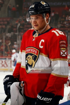 SUNRISE, FL - DECEMBER 29: Aleksander Barkov #16 of the Florida Panthers on the ice during warm ups prior to the start of the game against the Montreal Canadiens at the BB&T Center on December 29, 2019 in Sunrise, Florida. (Photo by Eliot J. Schechter/NHLI via Getty Images)