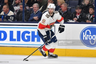 COLUMBUS, OH - DECEMBER 31: Brett Connolly #10 of the Florida Panthers skates against the Columbus Blue Jackets on December 31, 2019 at Nationwide Arena in Columbus, Ohio. (Photo by Jamie Sabau/NHLI via Getty Images)