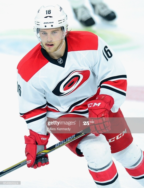 PHILADELPHIA, PA - DECEMBER 13: Elias Lindholm #16 of the Carolina Hurricanes plays in an NHL game against the Philadelphia Flyers at Wells Fargo Center on December 13, 2014 in Philadelphia, Pennsylvannia. (Photo by Miles Kennedy/NHLI via Getty Images)