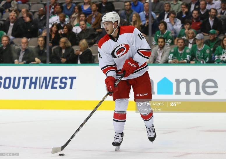 DALLAS, TX - NOVEMBER 18: Elias Lindholm #16 of the Carolina Hurricanes at American Airlines Center on November 18, 2014 in Dallas, Texas. (Photo by Ronald Martinez/Getty Images)