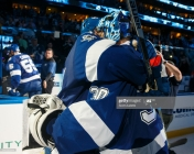 TAMPA, FL - FEBRUARY 21: Victor Hedman #77 and Ben Bishop #30 of the Tampa Bay Lightning celebrate the win against the Edmonton Oilers at Amalie Arena on February 21, 2017 in Tampa, Florida. (Photo by Scott Audette/NHLI via Getty Images)