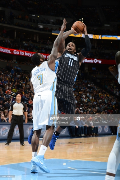 DENVER, CO - JANUARY 11: Glen Davis #11 of the Orlando Magic taking a shot during a game against the Denver Nuggets on January 11, 2014 at the Pepsi Center in Denver, Colorado. NOTE TO USER: User expressly acknowledges and agrees that, by downloading and/or using this Photograph, user is consenting to the terms and conditions of the Getty Images License Agreement. Mandatory Copyright Notice: Copyright 2014 NBAE (Photo by Garrett W. Ellwood/NBAE via Getty Images)
